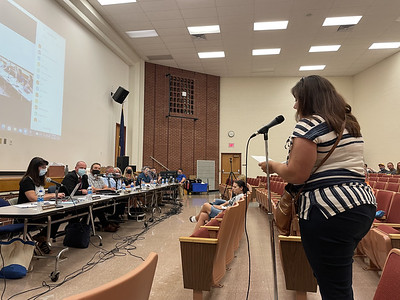 Robin Organ, an Adams Township resident, speaks agains the statewide mask mandate to the Mars Area School Board. Julia Maruca/Butler Eagle