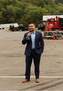 Slippery Rock mayor Jondavid Longo spoke in support of Republican gubernatorial candidate Jason Richey at Deep Well Services in Zelienople on Thursday. Julia Maruca/Butler Eagle