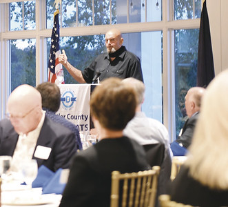 Lt. Gov. John Fetterman spoke at the Butler County Democratic Committee fall dinner Friday, along with several other Democratic candidates for office.EDDIE TRIZZINO/BUTLER EAGLE