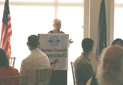 Catherine Lalonde, chairwoman of the Butler County Democratic Committee, welcomed guests to the organization's fall dinner at the Butler County Country Club Friday.EDDIE TRIZZINO/BUTLER EAGLE