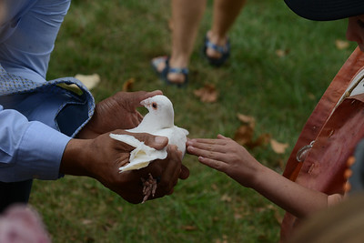 Ken Haselrig of Dovecote Missions shows one of his doves to students from Connoquenessing Valley Elementary School during a dove release at the Zelienople Rotary Peace Day ceremony on Tuesday. Julia Maruca/Butler Eagle