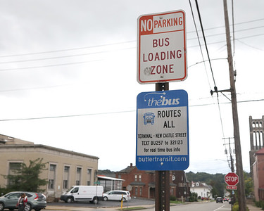 Bus Stop sign outside of the Downtown Bus Terminal on New Castls Street. Ordinarily lined with buses, the street was empty Thursday.  Seb Foltz/Butler Eagle