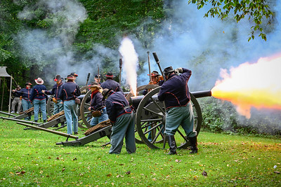 . Civil War reenactors firing cannons. The 29th annual McConnells Mill Heritage Festival will take place from 10 a.m. to 6 p.m. Sept. 25 and 11 a.m. to 5 p.m. Sept. 26 at the Kildoo Picnic Area & Gristmill at McConnells Mill.  The event, which is sponsored by the Rotary Club of Portersville-Prospect, celebrates the time period of 1852-1928, when the gristmill harnessed the power of the Slippery Rock Creek to grind wheat for bread. Attendees can tour the mill and see its original machinery, visit a Civil War encampment, participate in art and craft demonstrations, partake in different family activities, and enjoy live music. Artists and craftspeople from the local area demonstrate their skills and have their wares for sale. Elizabeth (Liz) Linton/special to the Eagle