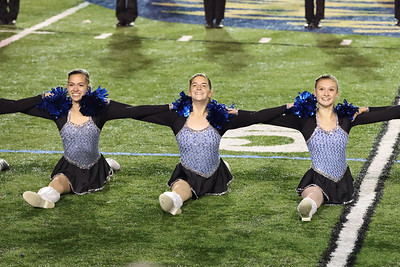 Seneca Valley dance team members finish a song with the splits  at the Butler County Band Festival Wednesday. Seb Foltz/Butler Eagle 09/29/21
