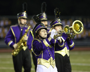 Karns City trumpet player Delaney hindman and the marching band perform  at the Butler County Band Festival Wednesday. Seb Foltz/Butler Eagle 09/29/21