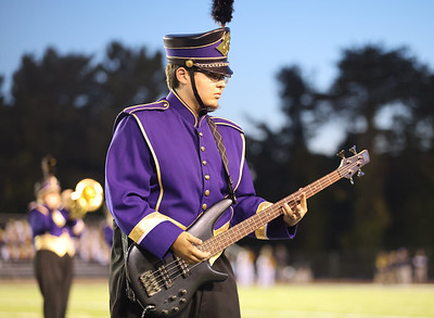Karns City marching band bass player Austin Farone plays  at the Butler County Band Festival Wednesday. Seb Foltz/Butler Eagle 09/29/21