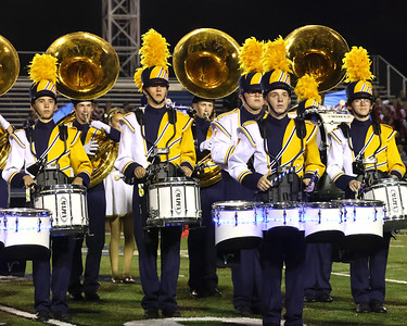 The Golden Tornado Marching Band percussion members perform at the Butler County Band Festival Wednesday. Seb Foltz/Butler Eagle 09/29/21