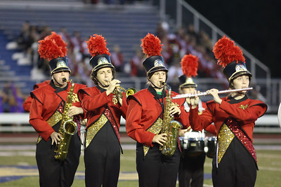 Ava McConnell (front center), Donavan Smith and the North Catholic Marching Band perform at the Butler County Band Festival Wednesday. Seb Foltz/Butler Eagle 09/29/21
