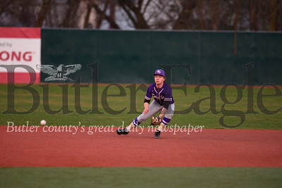 Karns City V Clarion: Karns shortstop #21 fields  a ball as part of a double play  he also was the  closing pitcher