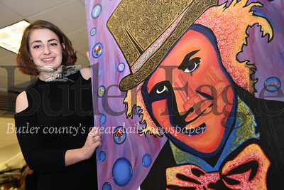 Harold Aughton/Butler Eagle: Rose Burger, 18, a senior at Butler High School, will be entering her painting of Willy Wonka in to the 16th annual FAB art showcase, Saturday, April 13, at the Butler Intermediate High School 4:30 - 8:00 p.m.