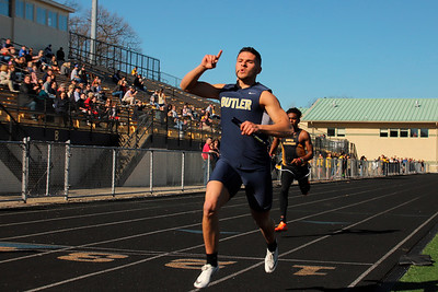 Butler's Ryan Marcello tops Joey Porter Jr. in the 4x100 during Tuesday's meet at North Allegheny.
