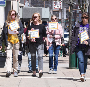 """Harold Aughton/Butler Eagle: Members of the advocay group """"VOIC"""" gathered at noon, Wed. April 10 for a """"Walk-out"""" in support of victims rights.  Harold Aughton/butler eagle"""