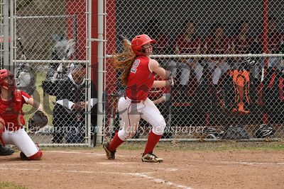 Slippery Rock's Julia Hart hits a popup during the loss Wednesday to Hickory.