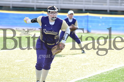 Karns City's #21 winds up to pitch in the Gremlins win over Moniteau Monday.