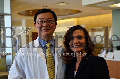 Dr. Meng-G Martin Lee, a surgeon, and Kelly Jo Best-Conti, a bariatric program coordinator, stand in the lobby of Butler Health System Bariatrics. The pair are a gateway for many in the community to gastric bypass surgeries. Tanner Cole/Butler Eagle