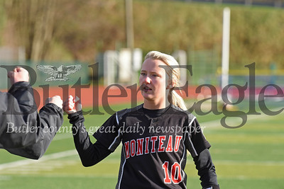 Moniteau's #10 celebrates after scoring a run Monday against Karns City.