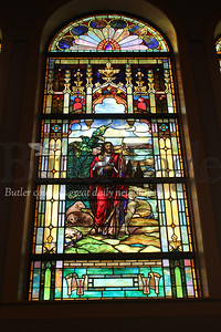 Harold Aughton/Butler Eagle: Cabot United Methodist Church installed restored stained glass windows when they built new sanctuary.