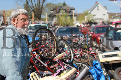 Denny Offstein of Denny Offstein Auto Sales looks out at his collection of used bikes for this year's Bike Rodeo.  Bike Rodeo Story: Denny Offstein Auto Sales. (Seb Foltz/Butler Eagle)
