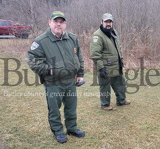 Moraine State Park ranger and supervisor Bryan Moore and assistant park manager Brian Flores. Photo by Nathan Bottiger/Butler Eagle