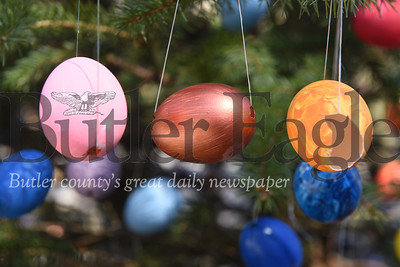 Harold Aughton/Butler Eagle: Bonnie and Carli Cahill of 1118 Saxonbur Road, have placed over 1200 decorated easter eggs on the two pine trees in their front yard. april 2020