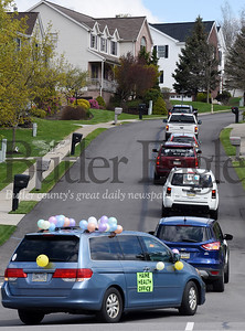 Harold Aughton/Butler Eagle: Teachers from Rowan Elementary drove through Seven Fields and Cranberry Twp. neighborhoods letting their students know they were missed Monday morning, April 27, 2020.