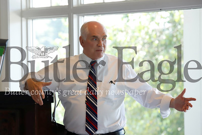 US Rep. Mike Kelly speaks to members of the Community Development Corporation of Butler County and the Butler County Chamber of Commerce as part of a round table discussion along with fellow representative Glenn Thompson Thursday at the Butler Country Club. 08/01/19 Seb Foltz/Butler Eagle