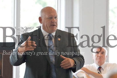 U.S. Rep. Glenn Thompson speaks to members of the Community Development Corporation of Butler County and the Butler County Chamber of Commerce as part of a round table discussion along with Rep. Mike Kelly Thursday at the Butler Country Club. 08/01/19 Seb Foltz/Butler Eagle