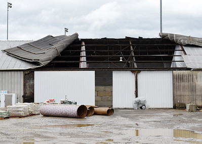 Harold Aughton/Butler Eagle: Heavy winds ripped the roof off of a storage building at DuBrook Thursday, August 27, 2020.