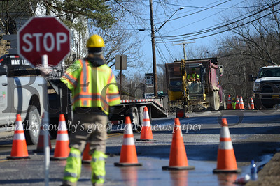 Two water main breaks in the borough have traffic snarled on Main Street and officials issuing a water boil advisory to residents until water pressure can be restored and the broken mains mended. pictures by Caleb Harshberger