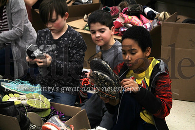 Four fourth grade classes collected around 3,000 shoes for those in need. photos by caleb harshberger