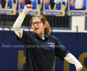Harold Aughton/Butler Eagle: Natalie Gall reacts to her shot during the school's first bocce tournament against Butler Thursday, January 30, 2020.
