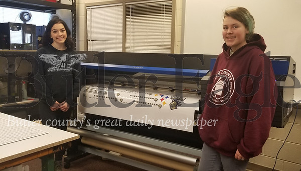 Butler County Area Vocational-Technical School seniors Rachel Armour, left, and Paige Hauserman, from Knoch High, will compete in the 2020 SkillsUSA state competition in graphic arts.