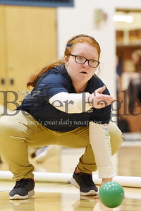 Harold Aughton/Butler Eagle: Knoch's Julie Kubit rolls her bocci ball during the school's first tournament Thursday, January 30, 2020.