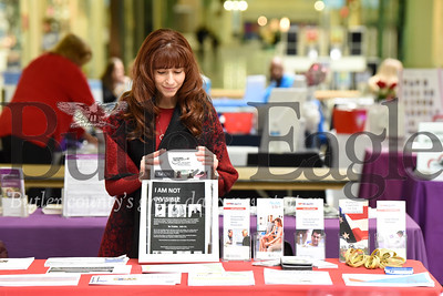 Harold Aughton/Butler Eagle: Karen Dunn, MSN, RN, at the Health Promotion & Disease Prevention Program Manager at the VA Butler Healthcare Center, sets up a table for the 18th annual health and wellness fair at the Clearview Mall, Friday, February 7, 2020.