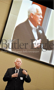 Harold Aughton/Butler Eagle: Craig Poole, General Manager of DoubleTree by Hilton , provided the keynote address during the Butler County Growth Collaborative event sponsored by the Butler County Chamber of Commerce and held at the Regional Learning Alliance Tuesday, February 18, 2020.