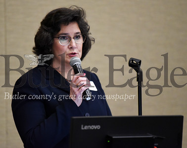 Harold Aughton/Butler Eagle: Commissioner Kim Geyer speaks during the Butler County Growth Collaborative event sponsored by the Butler County Chamber of Commerce and held at the Regional Learning Alliance Tuesday, February 18, 2020.