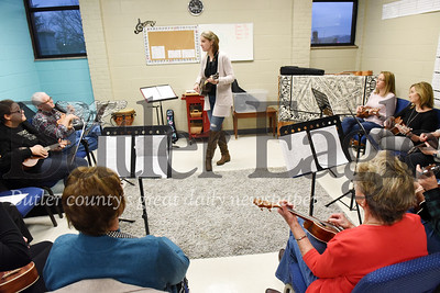 Harold Aughton/Butler Eagle: Maureen Konopka, director of Music Ministries at the Dutilh United Methodist Church leads a ukulele ensemble Thursday, February 13, 2020.