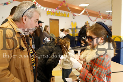Dressed as Jackie Kennedy, Ainsley Martin recites her character speech to John Cosentino at Mars Elementary's  Wax Museum of Presidents and First Ladies Friday. Seb Foltz/Butler Eagle