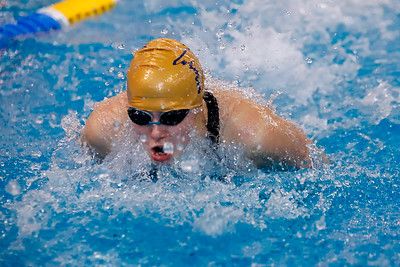Laura Goettler, Butler, 200 IM individual swimming butterfly.  WPIAL Championships at University of Pittsburgh Thursday. Seb Foltz/Butler Eagle 02/27/20