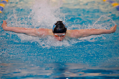 Owen Blazer of Seneca Valley, 100 yard butterfly WPIAL Championships at University of Pittsburgh Thursday. Seb Foltz/Butler Eagle 02/28/20