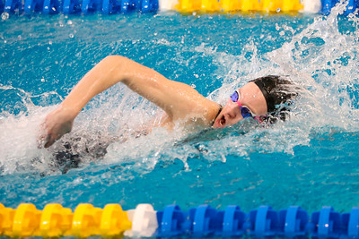 Kendall Craig, Seneca Valley, 200 IM relay swimming freestyle. WPIAL Championships at University of Pittsburgh Thursday. Seb Foltz/Butler Eagle 02/27/20
