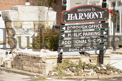 """Tractor trailers driving in Harmony continue to cause damage to brick flower beds and signs when using a road that is marked """"no trucks allowed."""" The borough hadn't been able to fix the damages from a Dec. 14 incident before more damages were reported Friday."""
