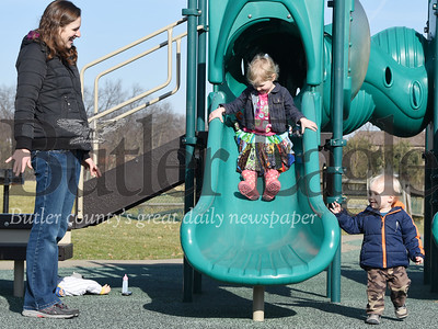 Harold Aughton/Butler Eagle: Kelley Angleberger of Evans City stopped by the Seven Fields playground after running errands with her children Abigail, 3, and Shepherd, 1, Wednesday afternoon, January 15, 2020.