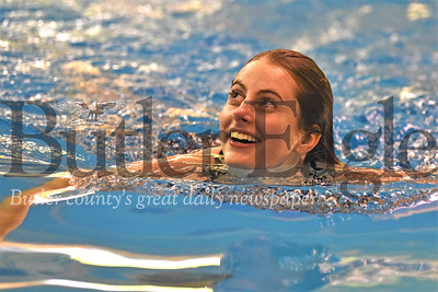 Paige Williams of Butler looks up at the scoreboard after her final dive against North Allegheny Wednesday 01/15/19. Seb Foltz/Butler Eagle