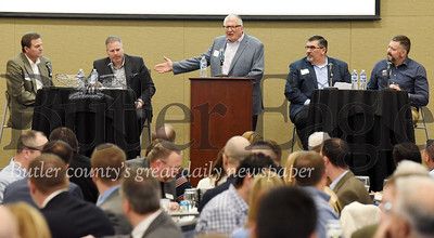 Harold Aughton/Butler Eagle: (Left - right) Gary Peaco, Adams Twp.; Tom Smith, Seven fields Borough; Mark Gordon, Butler County Chief of Economic Development and Planning; Dan Santoro, Cranberry Twp.; and Chris Rearick, Jackson Twp.