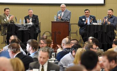 Harold Aughton/Butler Eagle: (Left - right) Gary Peaco, Adams Twp.; Tom Smith, Seven Vields Borough; Mark Gordon, Butler County Chief of Econmic Development and Planning; Dan Santoro, Cranberry Twp.; and Chris Rearick, Jackson Twp.