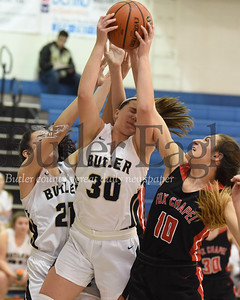 Butler's Makenna Maier takes a foul from Fox Chapel's Domenica Delaney going up for a rebound in Thursday night's 56-51 home loss. Seb Foltz/Butler Eagle