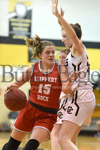 Grove City's Katie McDowell attempts to block Slippery Rock's Bronwyn McCoy during the basketball game at Grove City High School on Thursday, January 30, 2020. (Photo By: Erica Dietz)
