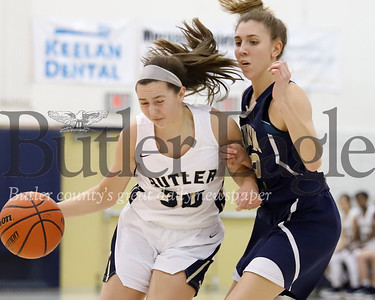 Butler's Makenna Maier pushes down court against Norwin's Danielle Rosso. Seb Foltz/Butler Eagle