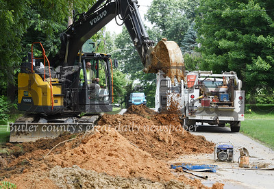 Harold Aughton/Butler Eagle: Plateau Street in Meridian will be closed during day-light hours as crews from the Pennsylvania American Water Company replace existing lines.
